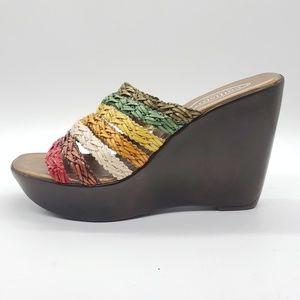 Callisto California Wedge Sandal rainbow leather 9